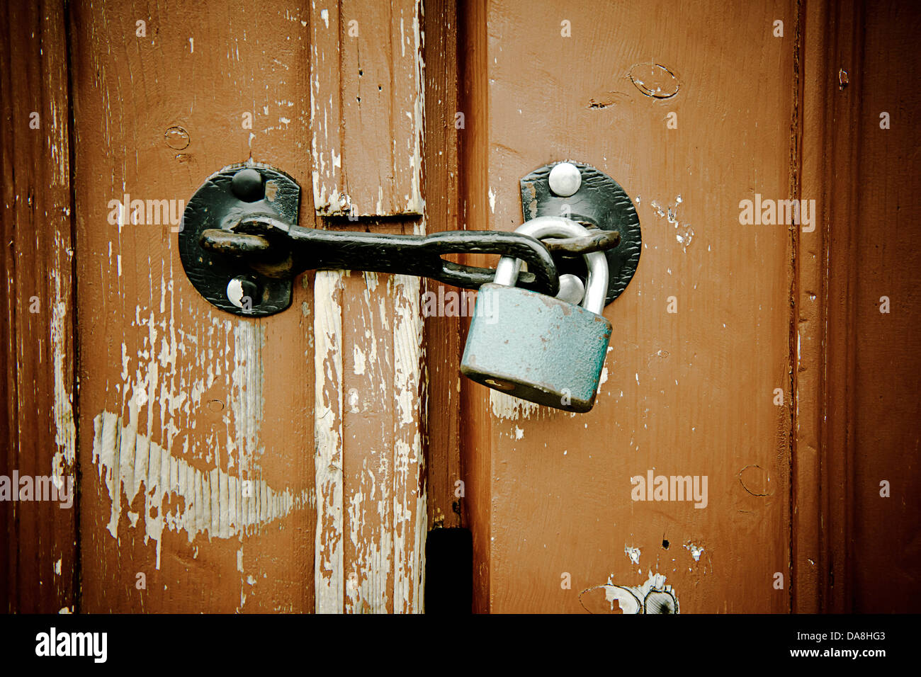door with lock - Stock Image