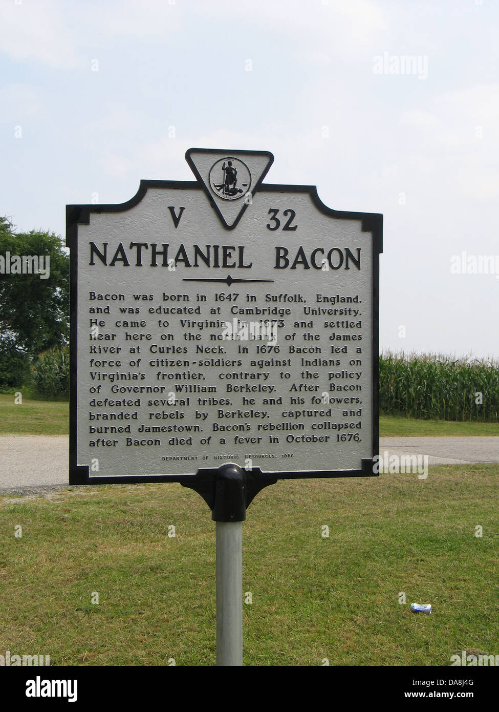 NATHANIEL BACON Bacon was born in 1647 in Suffolk, England and was educated at Cambridge University. He came to Stock Photo
