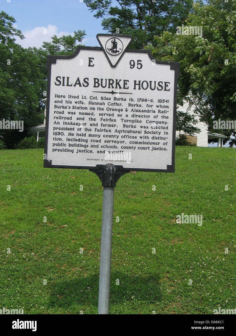 SILAS BURKE HOUSE Here lived Lt. Col Silas Burke (b. 1796-d. 1854) and his wife, Hannah Coffer. Burke, for whom - Stock Image