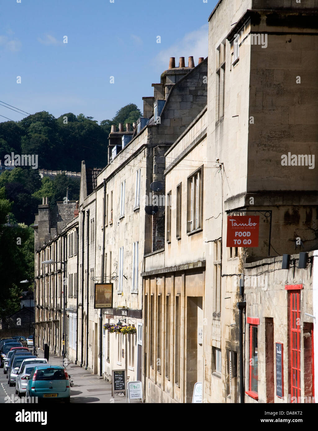 Buildings in Grove Street, Bath, Somerset, England including the Rising Sun pub - Stock Image