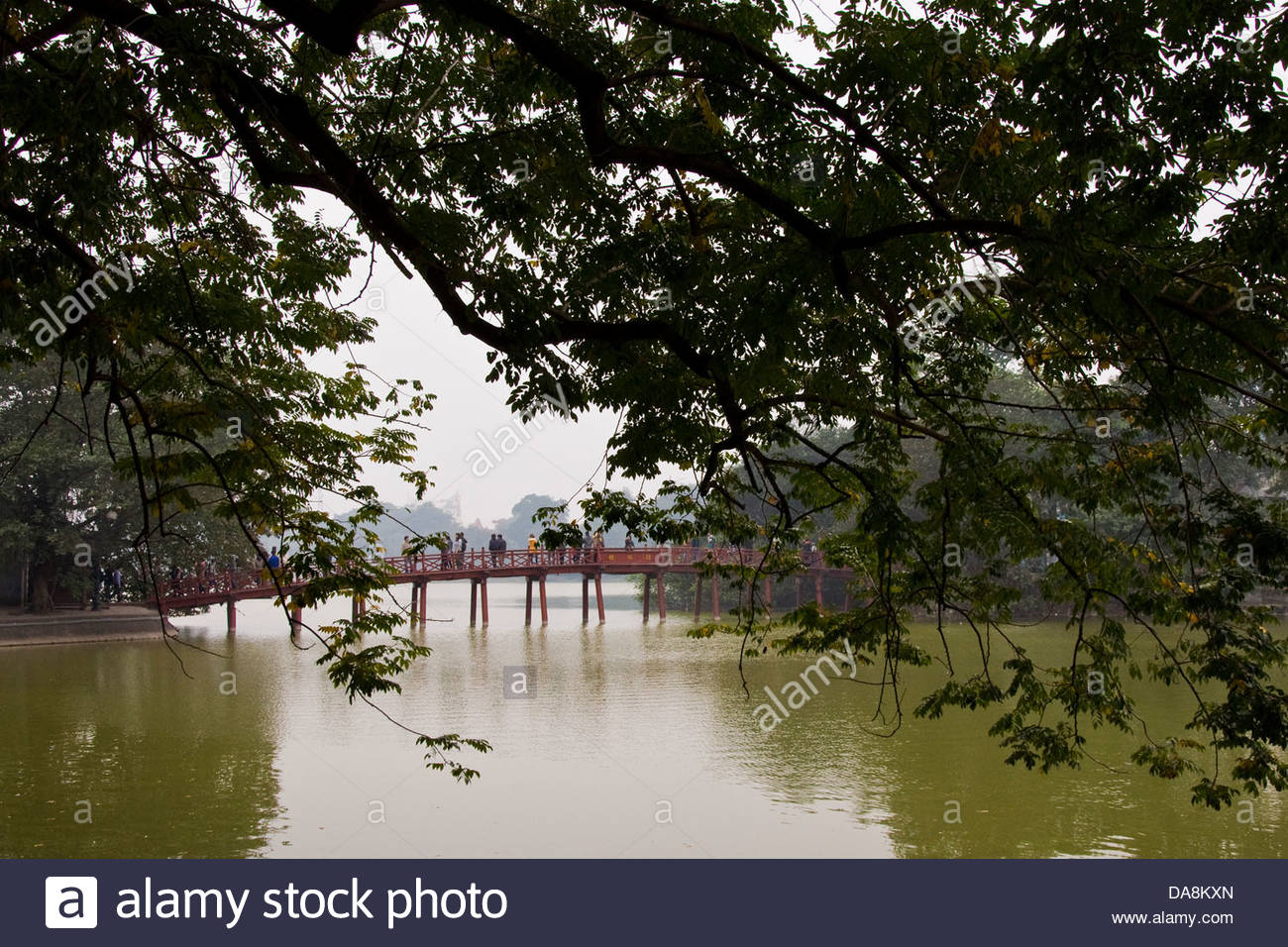 The Huc bridge,Hoan Kiem lake,Hanoi,Vietnam - Stock Image