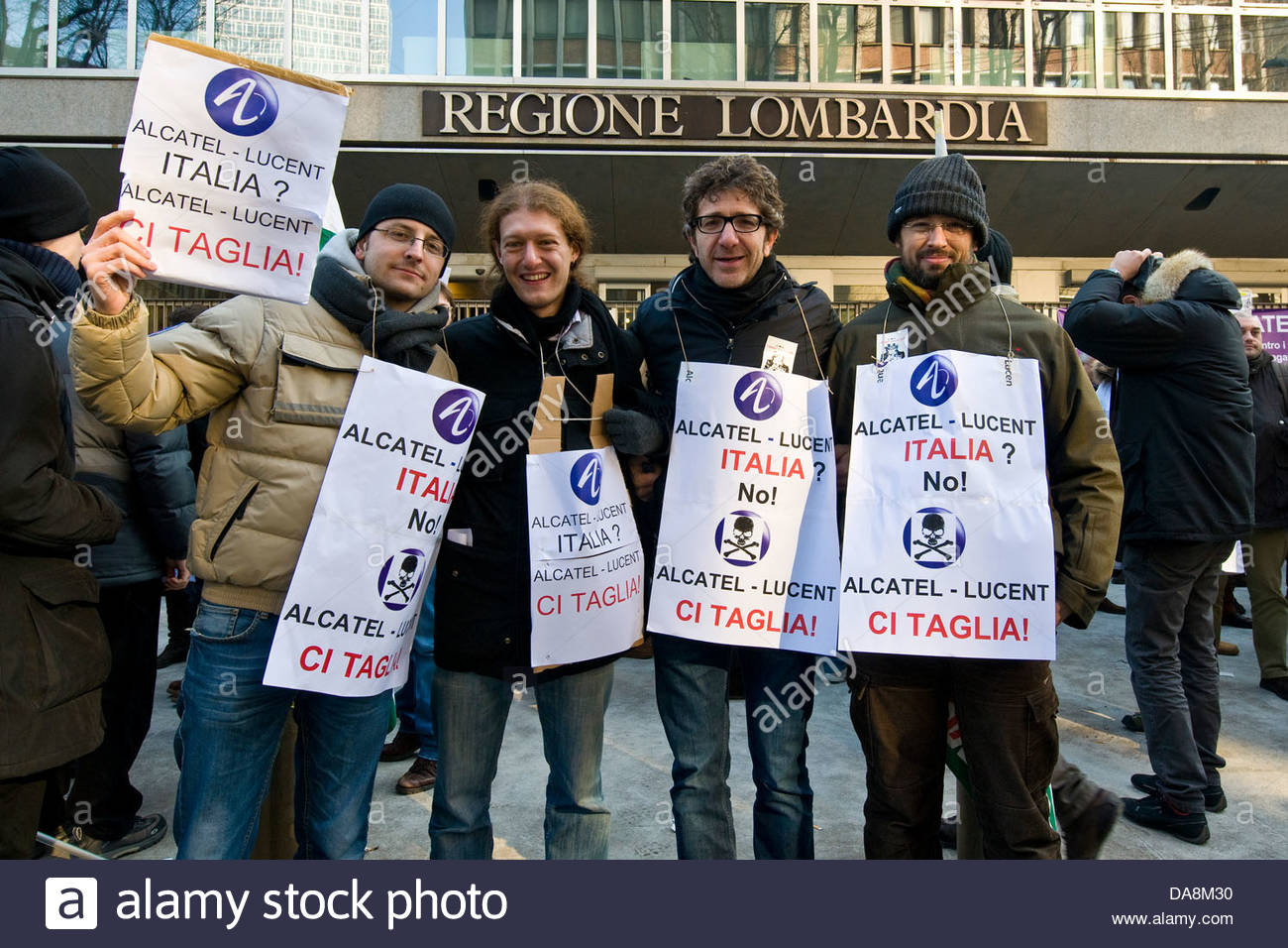 Workers strike Alcatel Lucent,Milan,Lombardy,Italy - Stock Image