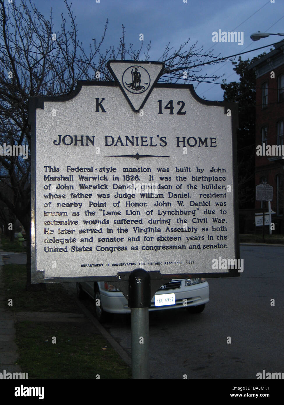 JOHN DANIEL'S HOME  The Federal-style mansion was built by John Marshall Warwick in 1826. It was the birthplace Stock Photo