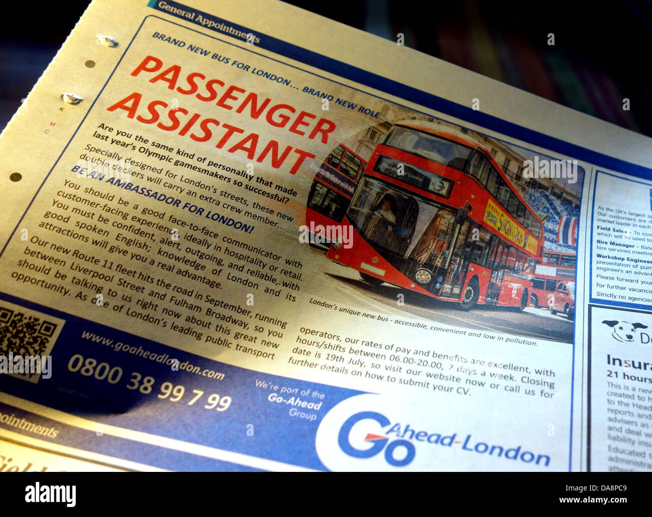 Newspaper advert for Passenger Assistants for new ' Routemaster' buses, London - Stock Image