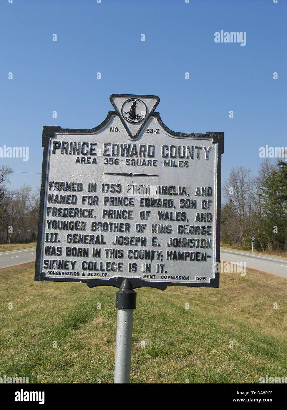 PRINCE EDWARD COUNTY Area 356 Square Miles Formed in 1753 from Amelia, and named for Prince Edward, son of Frederick, - Stock Image