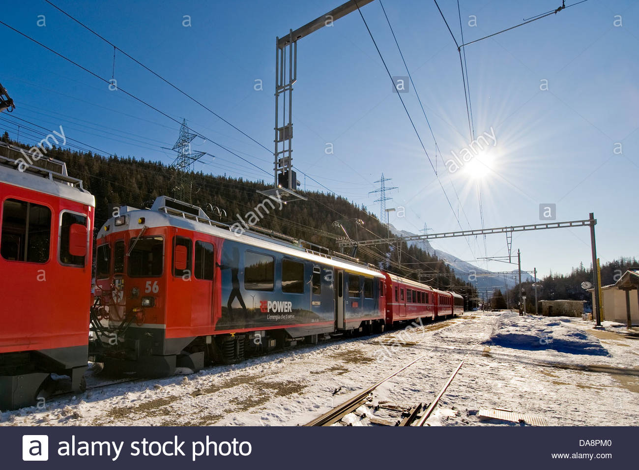 Railway station,Bernina express,Switzerland - Stock Image