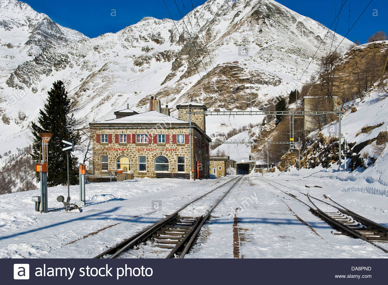 Alp Grum resort,Bernina express,Switzerland - Stock Image