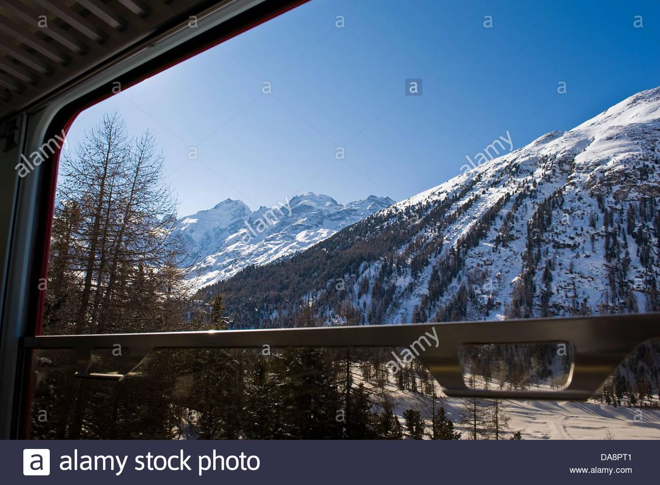 Morteratsch glacier,Bernina express,Switzerland - Stock Image
