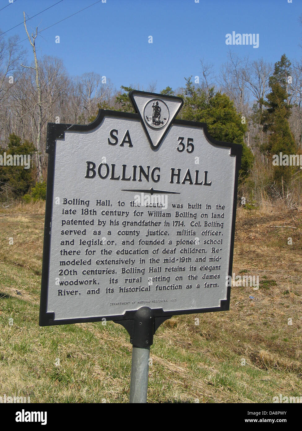 BOLLING HALL Bolling Hall, to the south, was built in the late 18th Century for William Bolling on land patented - Stock Image