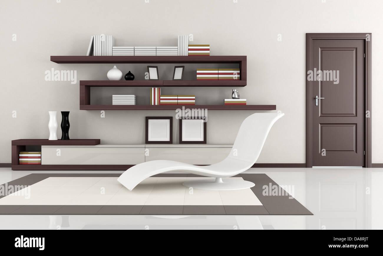 Beige And Brown Elegant Minimalist Lounge Rendering Stock