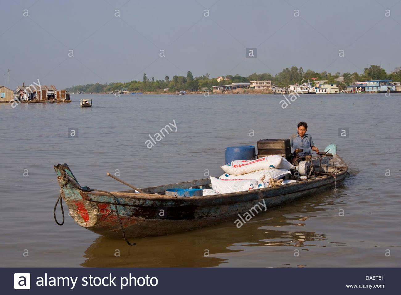 Boat,Chau Doc,Vietnam - Stock Image