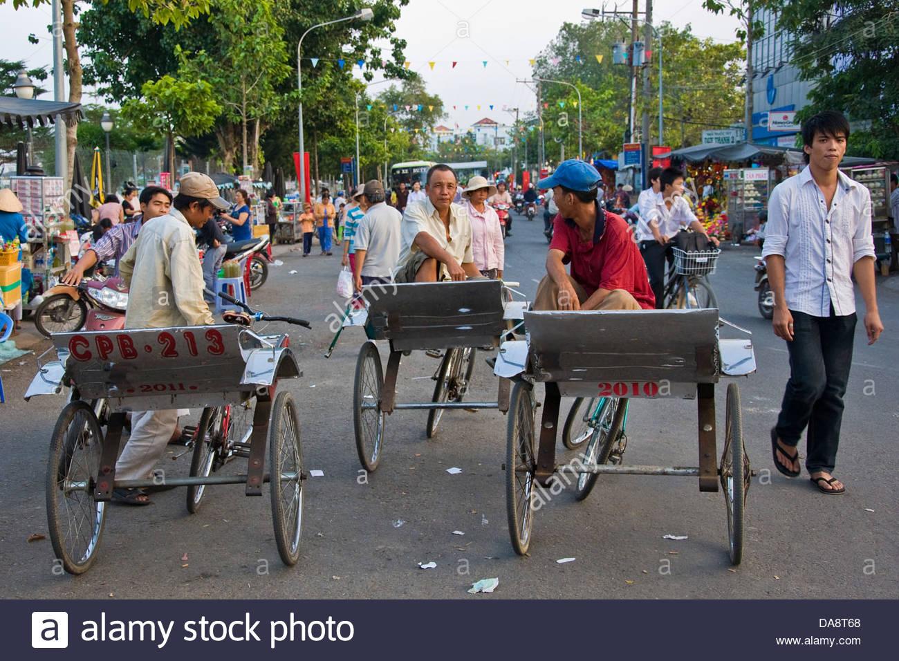 Rickshaws,Chau Doc,Vietnam - Stock Image
