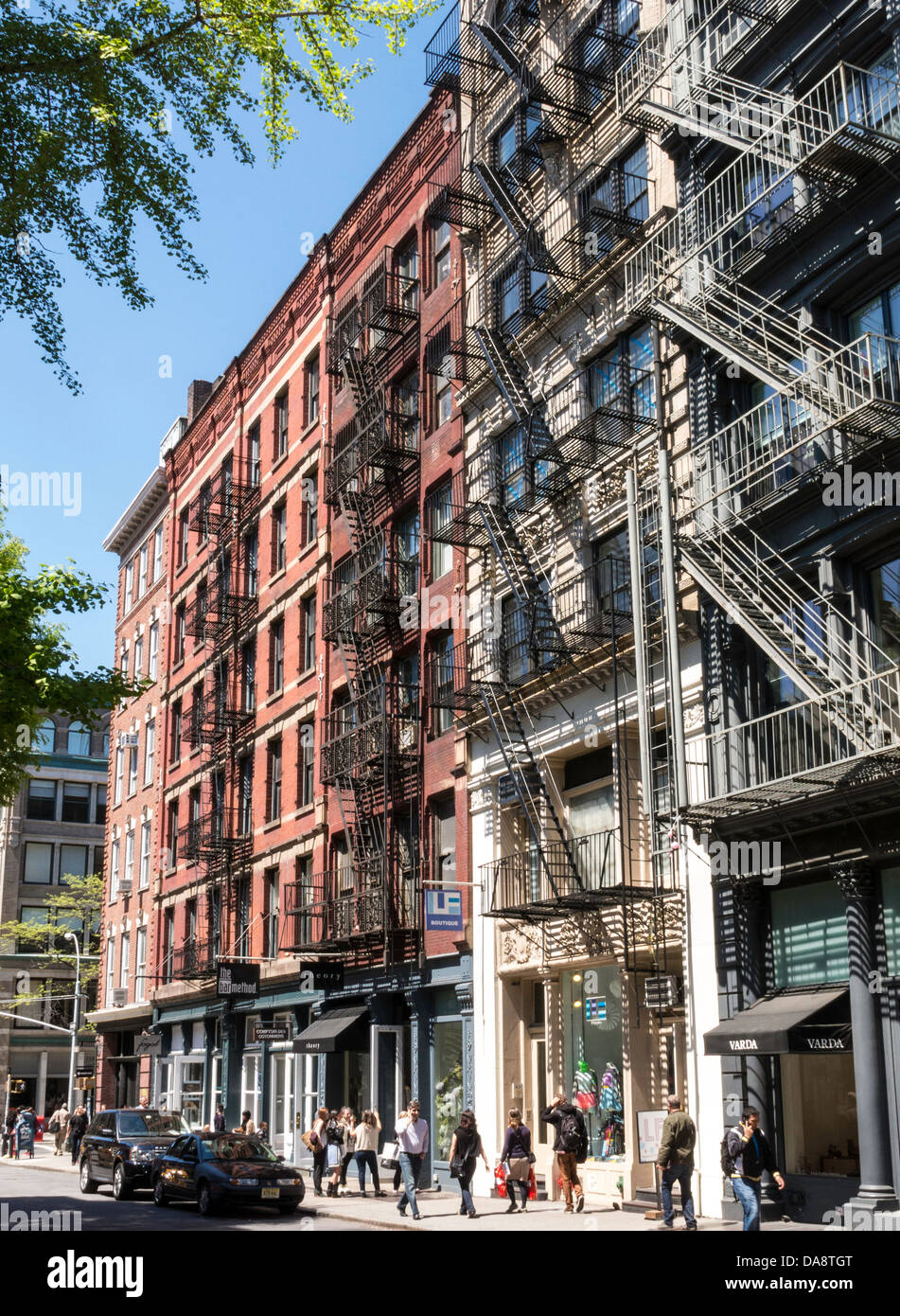 Building Facades, SoHo, Cast Iron Historic District, NYC Stock Photo