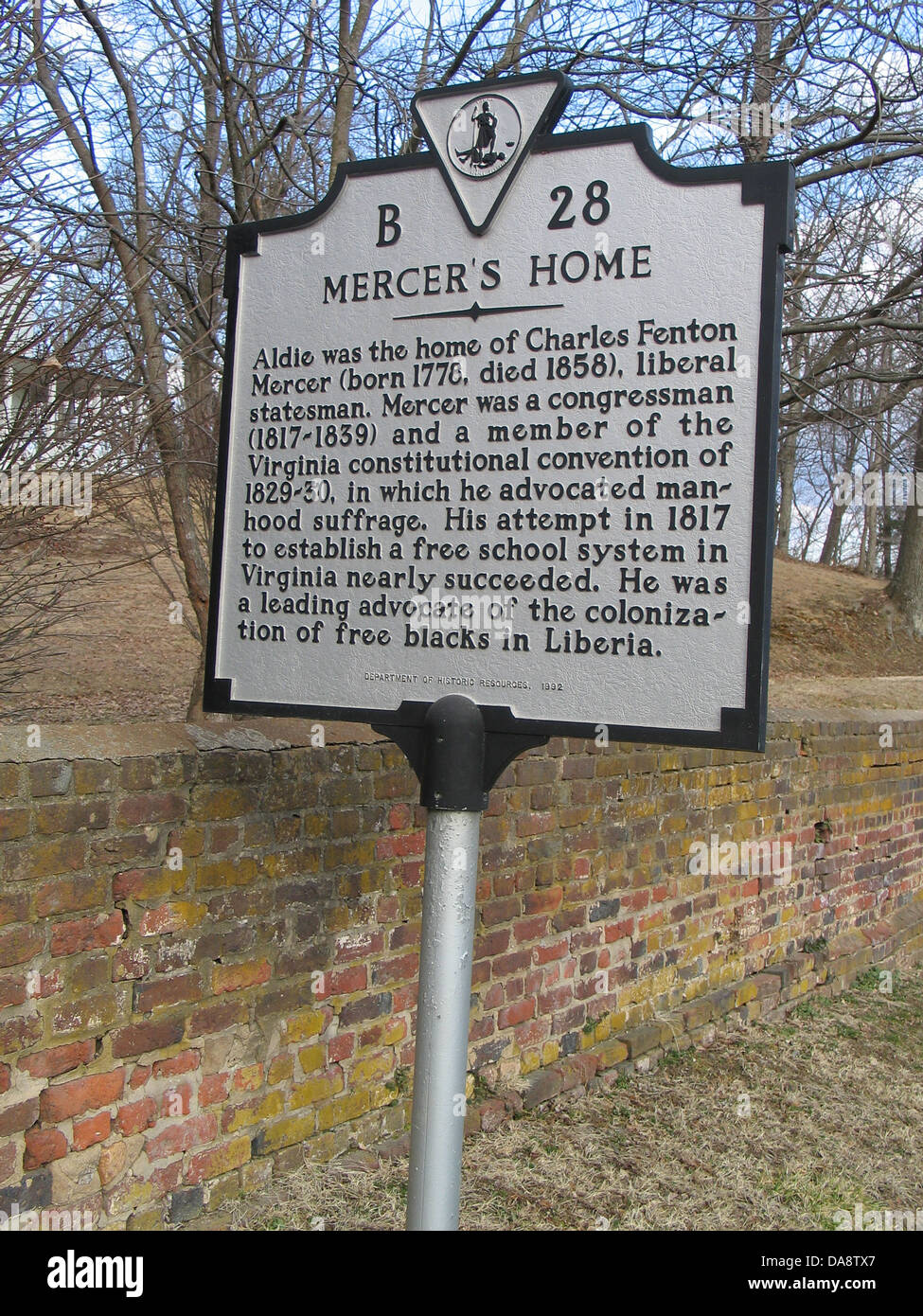 MERCER'S HOME Aldie was the home of Charles Fenton Mercer (born 1778, died 1858), liberal statesman. Mercer - Stock Image