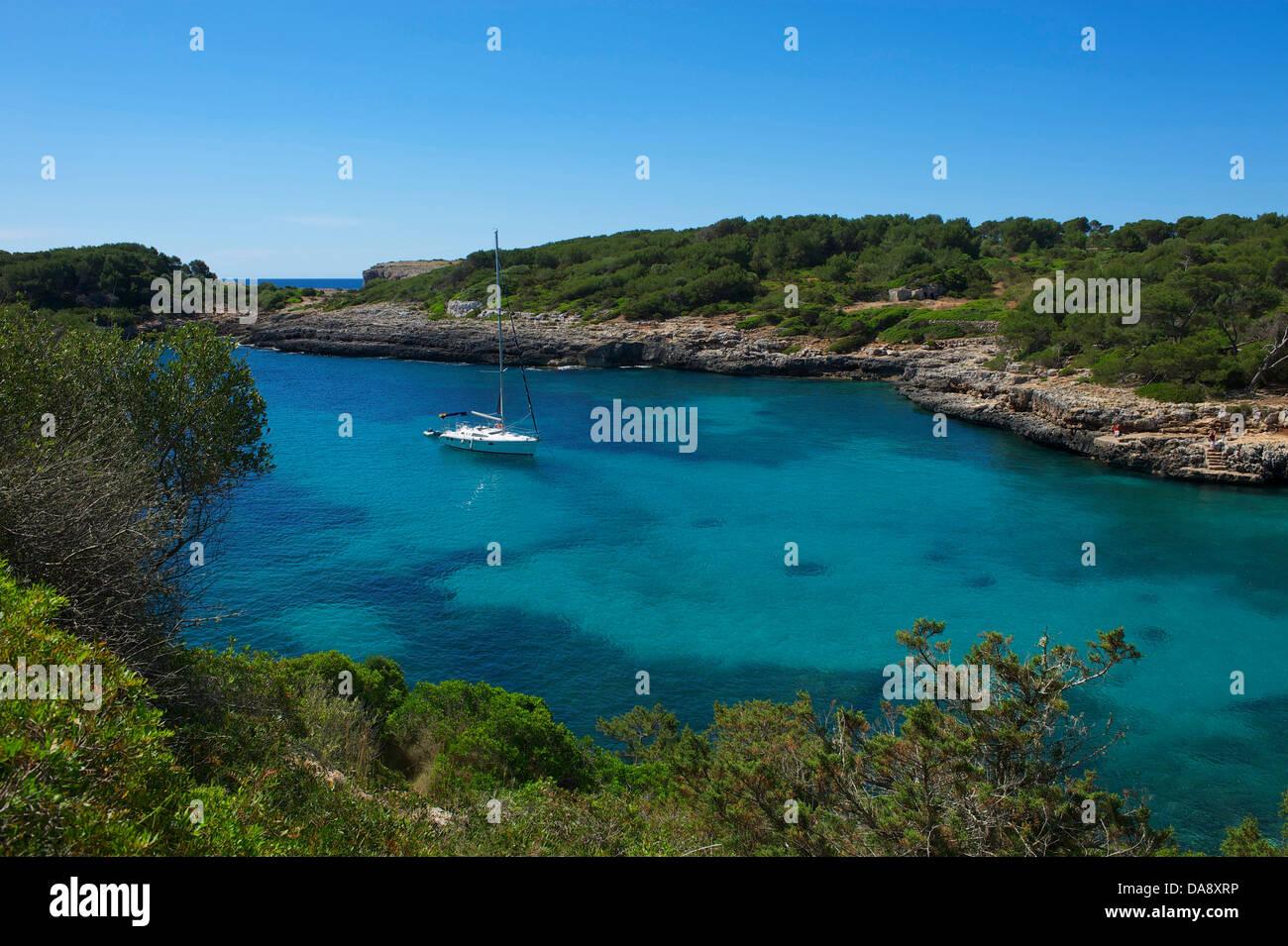 Balearic Islands, Majorca, Mallorca, Spain, Europe, outside, Cala Sa Nau, coast, seashore, coasts, seashores, coastal - Stock Image
