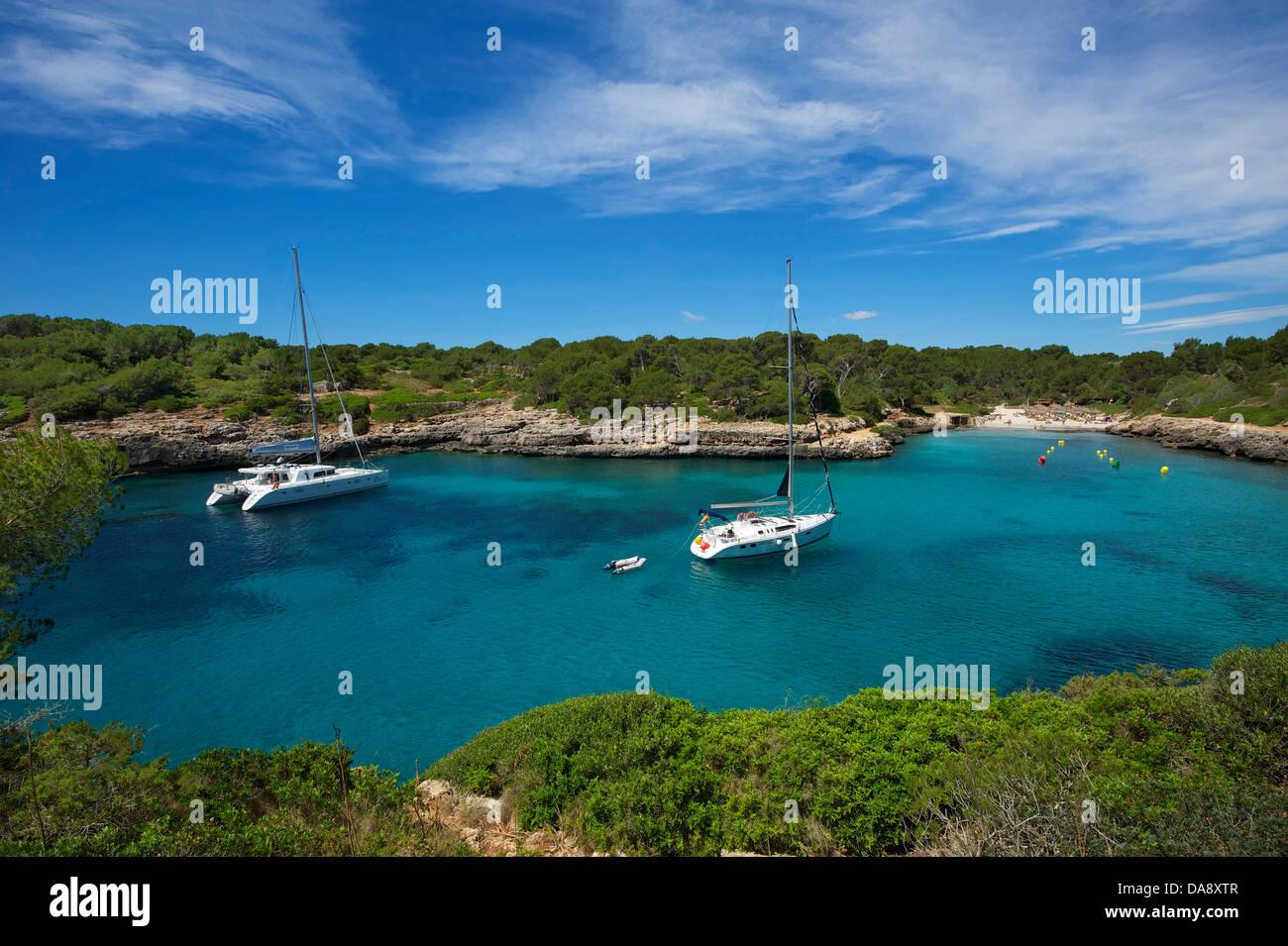 Balearic Islands, Majorca, Mallorca, Spain, Europe, outside, Cala Sa Nau, coast, seashore, coasts, seashores, coastal Stock Photo