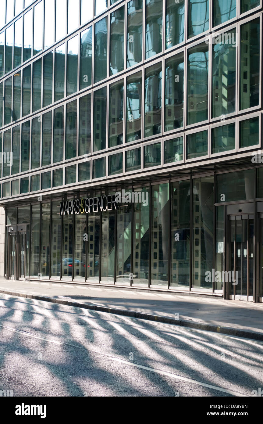 Deserted City street with Marks and Spencer shop, City of London EC3, UK - Stock Image
