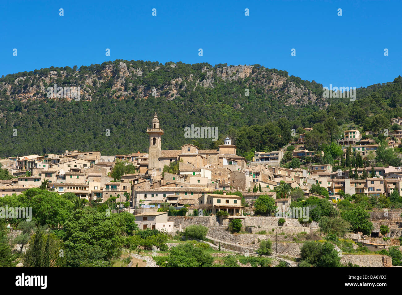 Balearic Islands, Majorca, Mallorca, Spain, Europe, outside, Valldemossa, Valldemosa, town view, day, nobody, Stock Photo