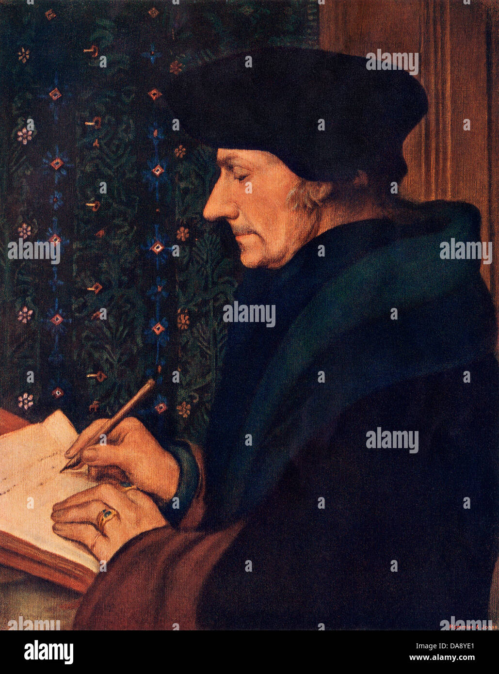 Desiderius Erasmus. Color halftone reproduction of the portrait by Holbein - Stock Image