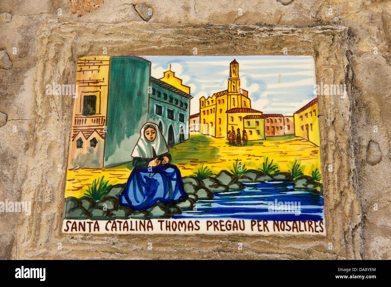 Balearic Islands, Majorca, Mallorca, Spain, Europe, outside, saint's picture, painting, Valldemossa, Valdemossa, Stock Photo