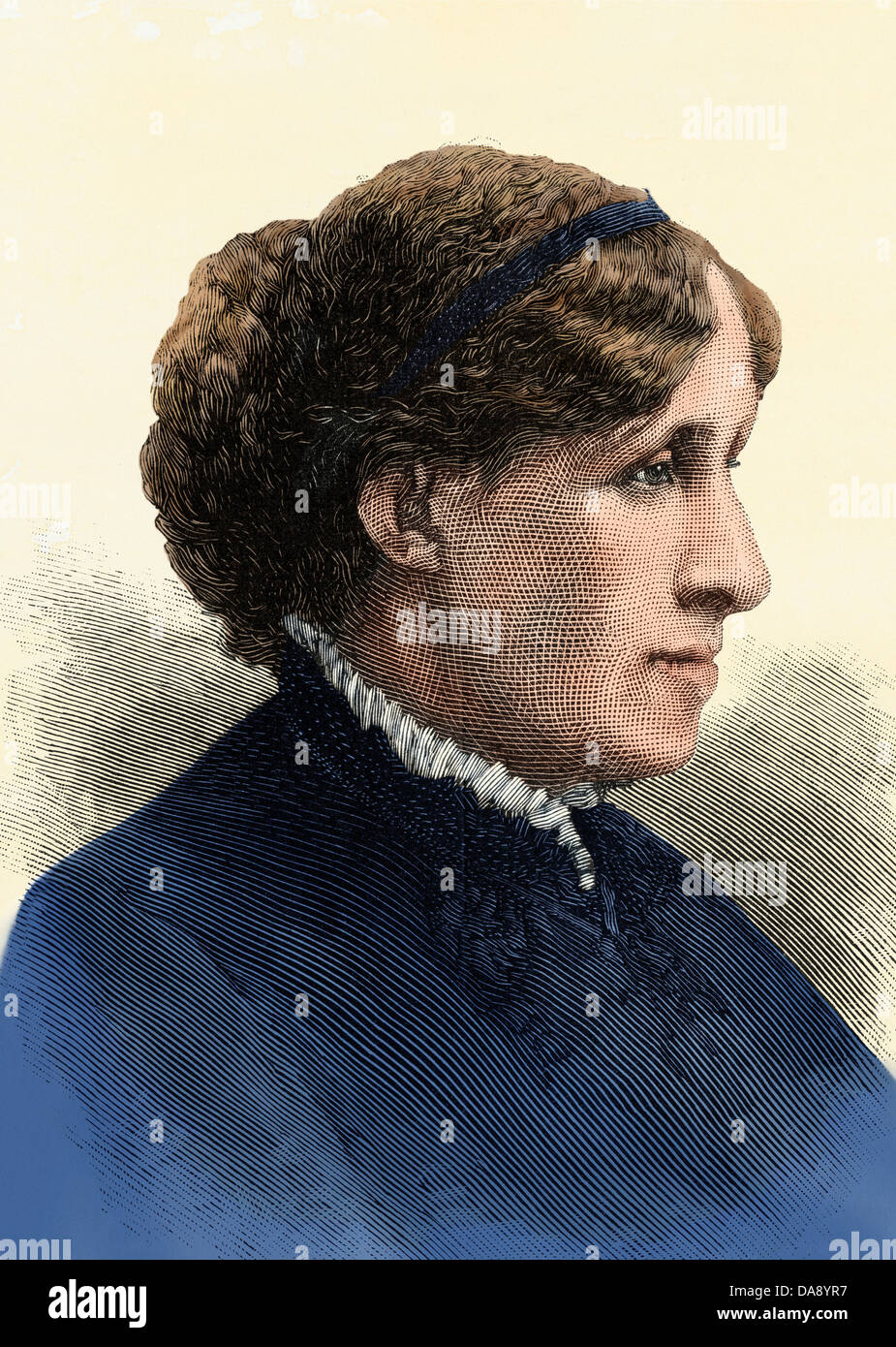 Author Louisa May Alcott. Hand-colored woodcut - Stock Image