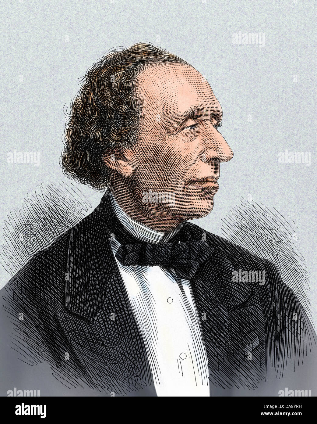 Portrait of author Hans Christian Andersen. Hand-colored woodcut - Stock Image