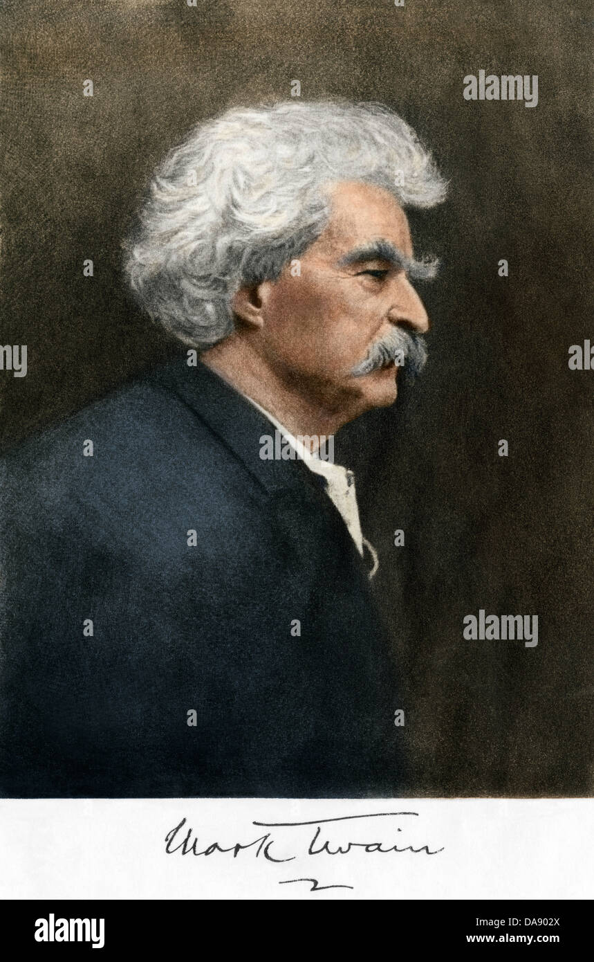 Portrait of Samuel Clemens, with his Mark Twain autograph. Digitally colored engraving of a photograph - Stock Image