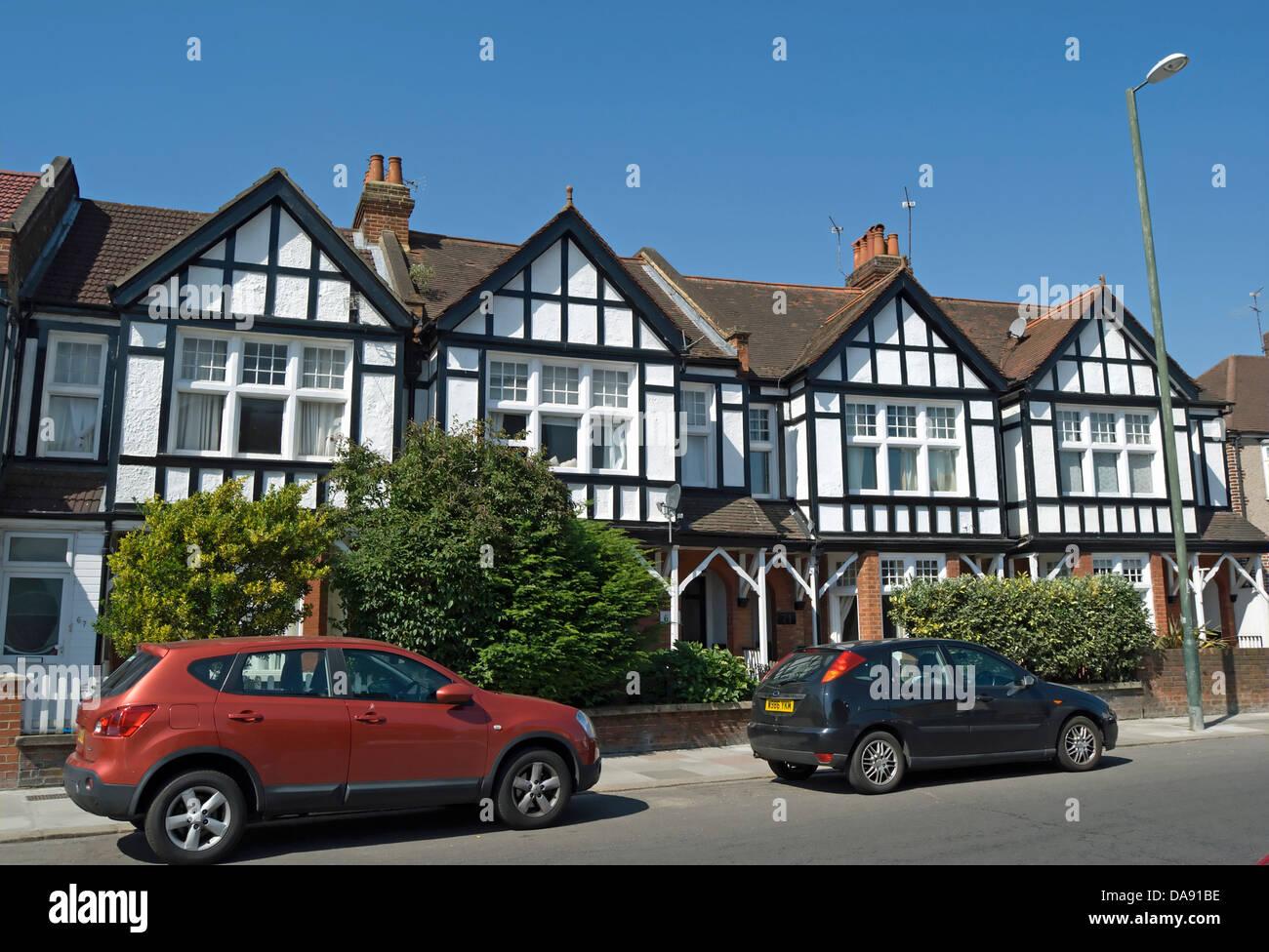 row of mock tudor houses  in teddington, middlesex, england - Stock Image