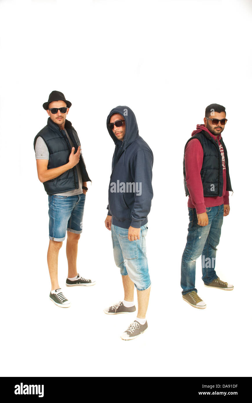 c93b894d7747 Group of three rappers men with sunglasses isolated on white background