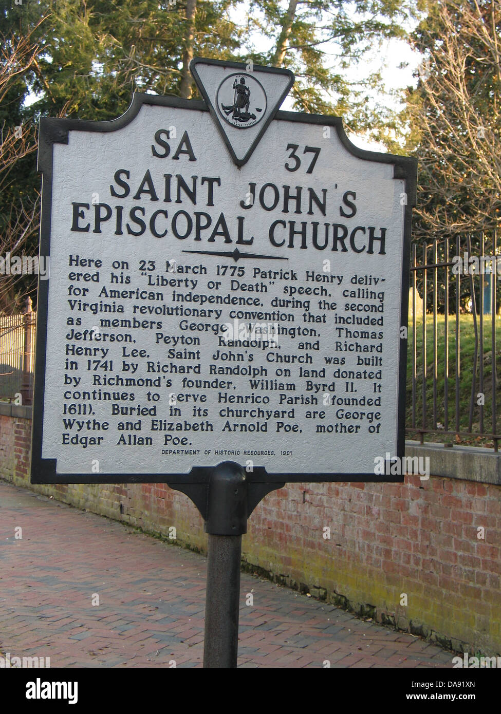 SAINT JOHN'S EPISCOPAL CHURCH Here on 23 March 1775 Patrick Henry delivered his 'Liberty or Death' speech, - Stock Image