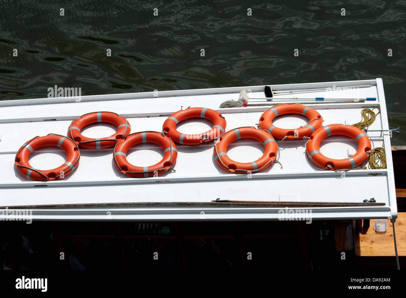 Life belts on a trip boat, Stratford-upon-Avon, UK - Stock Image