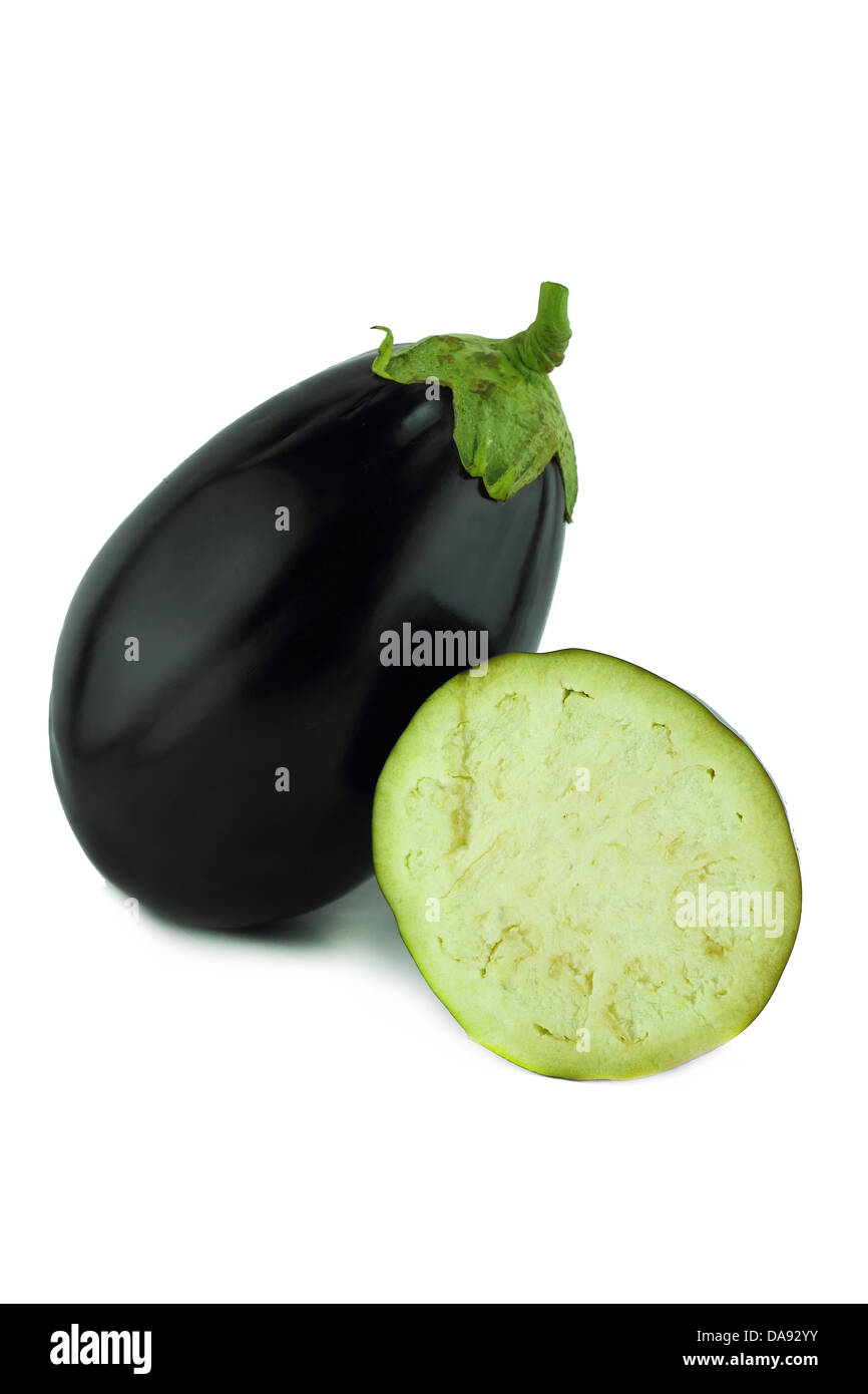 fresh eggplant, aubergine vegetable on white background . - Stock Image