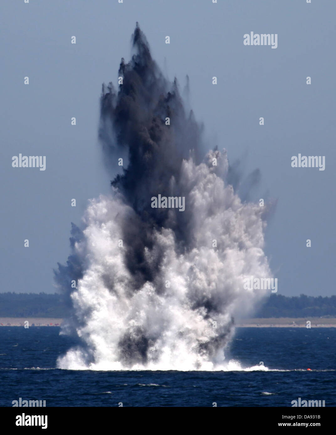 Two depth charges from WWII are controlledly detonated in the Baltic Sea off Wustrow, Germany, 08 July 2013. - Stock Image