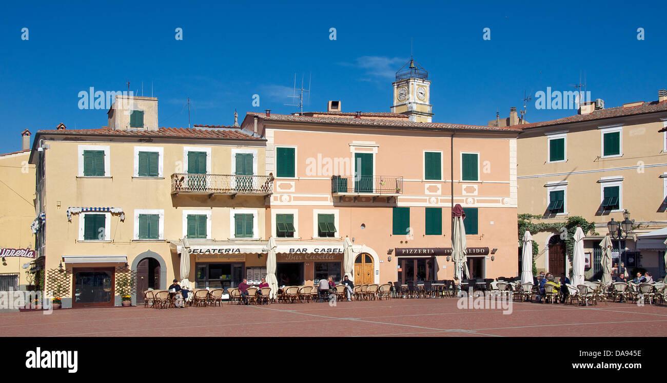 Town Square Porto Azzurro Elba Tuscany Italy - Stock Image
