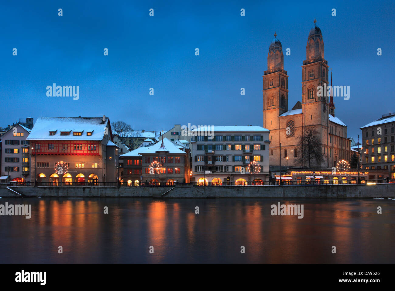 Advent, lighting, illumination, Advent time, Old Town, city, dusk, twilight, Grossmünster, church, lights, - Stock Image