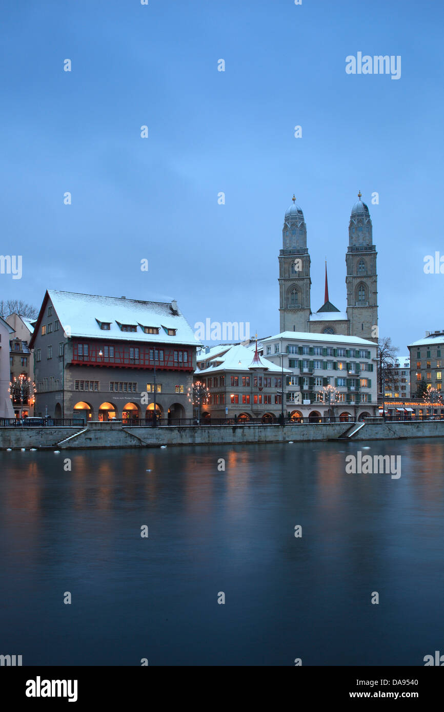Advent, lighting, illumination, Advent time, Old Town, city, dusk, twilight, Grossmünster, church, lights, - Stock Image