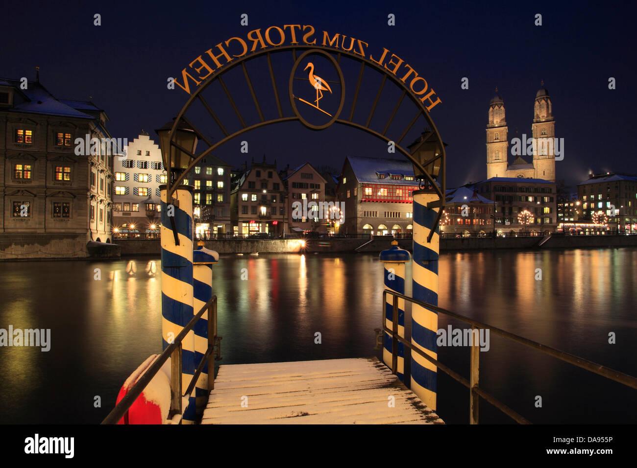 Advent, lighting, illumination, Advent time, Old Town, landing stage, landing stage, city, dusk, twilight, Grossmünster, - Stock Image