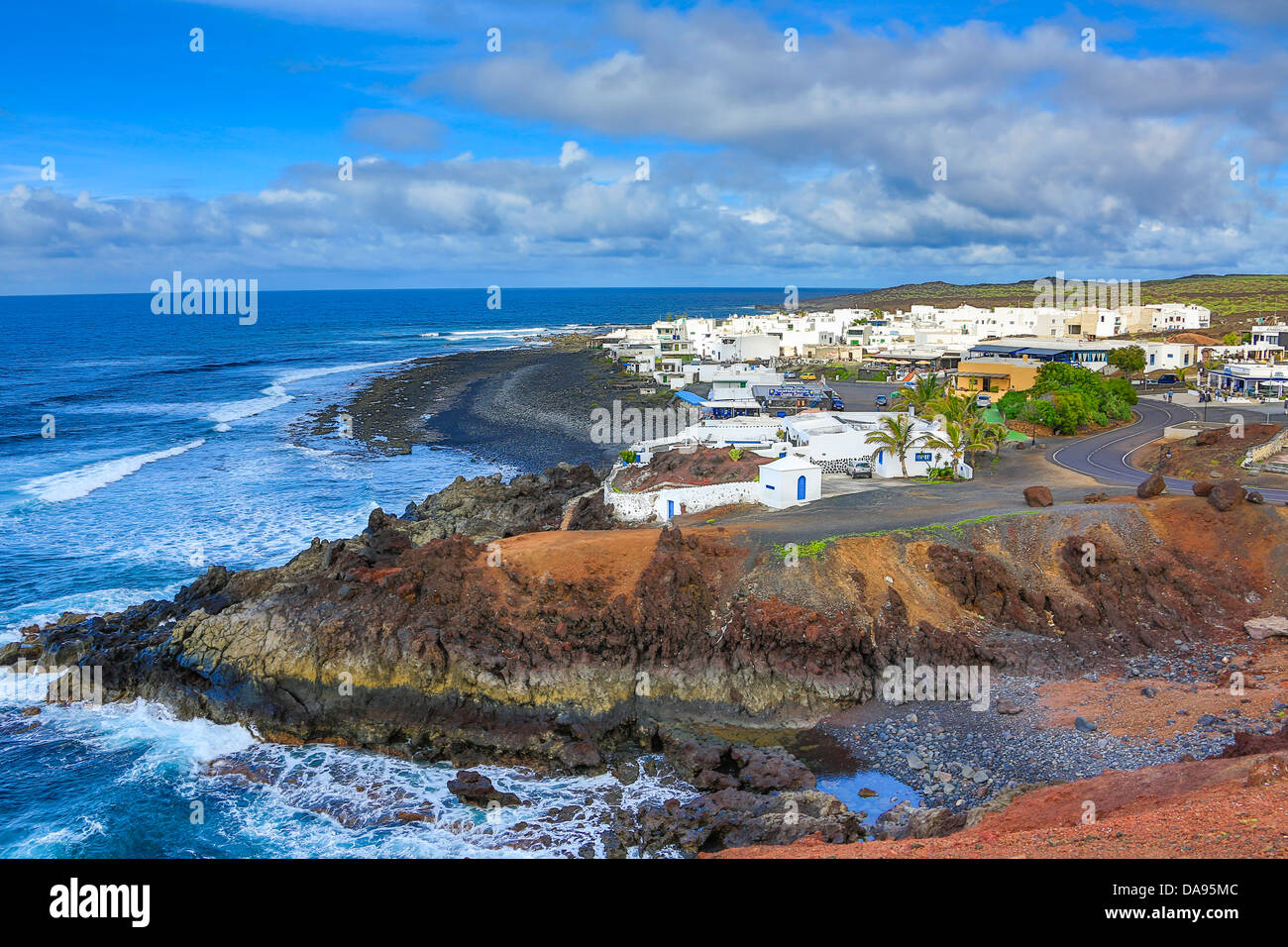 Spain, Europe, Canary Islands, Lanzarote, National Park, Volcano, beach, blue, coast, ecology, el golfo, erosion, - Stock Image