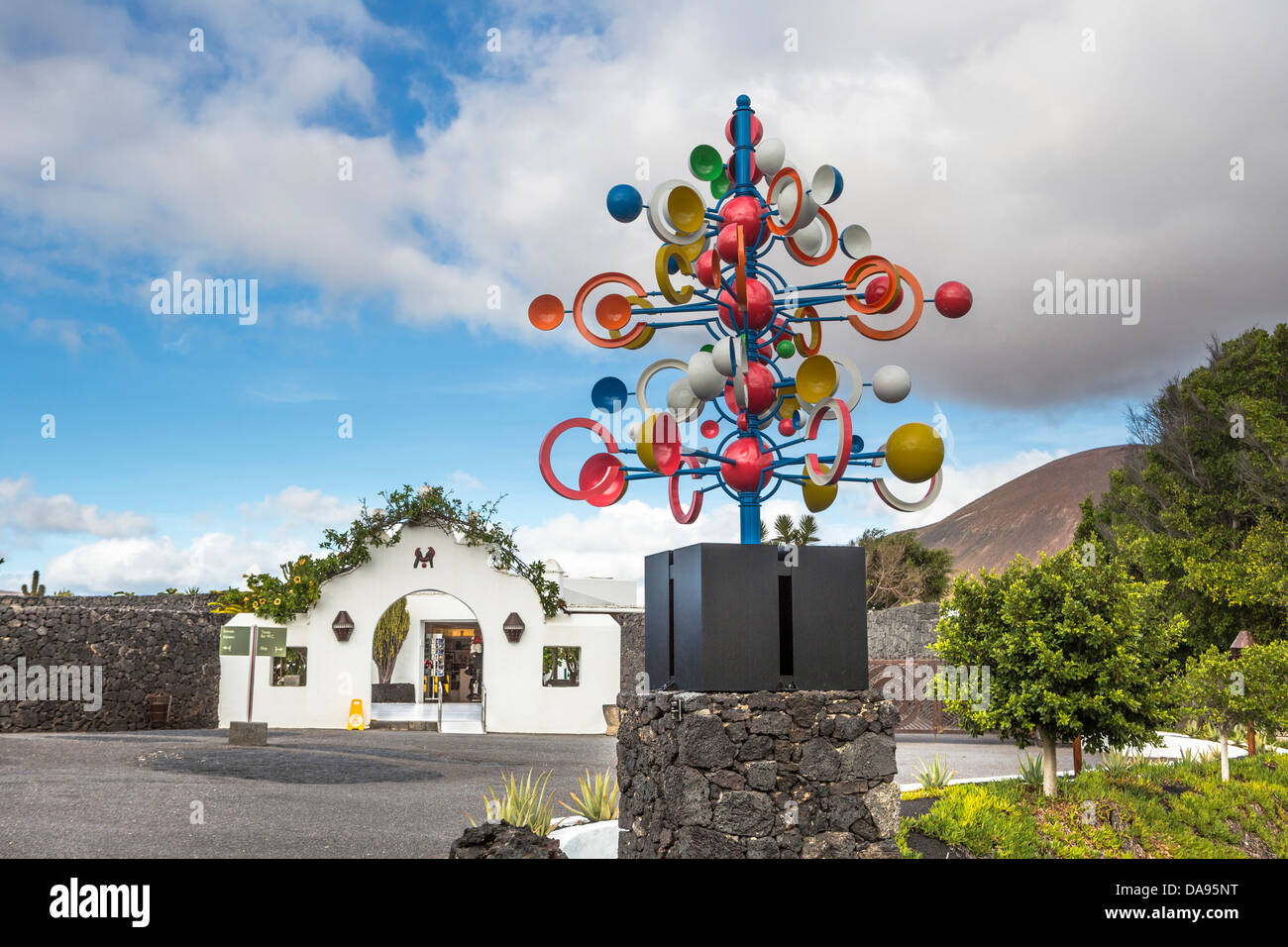 Spain, Europe, Canary Islands, Foundation, Lanzarote, architecture, art, artist, Cesar manrique, colourful, entrance, - Stock Image