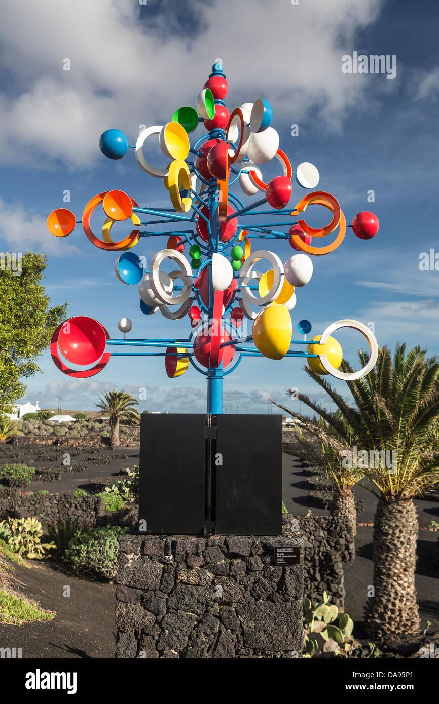 Spain, Europe, Canary Islands, Foundation, Lanzarote, architecture, art, artist, Cesar manrique, colourful, entrance, - Stock Image