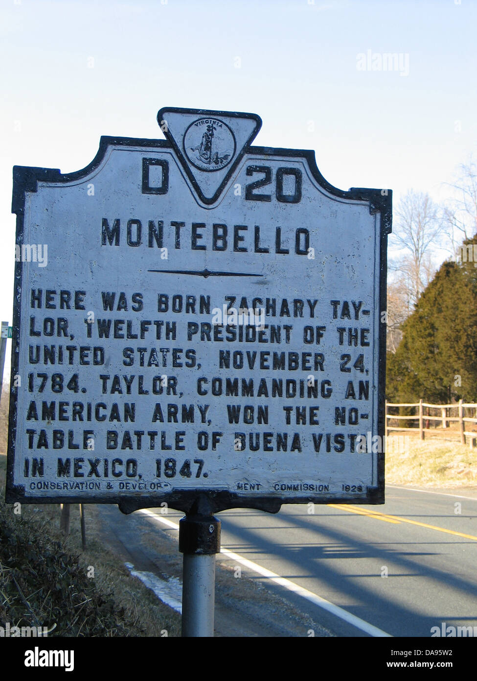 MONTEBELLO Here was born Zachary Taylor, twelfth president of the United States, November 24, 1784. Taylor, commanding Stock Photo