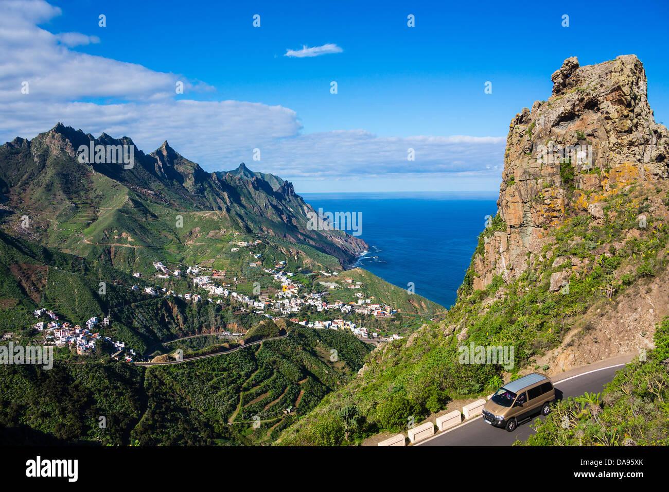 Spain, Europe, Canary Islands, Taganana, Tenerife Island, Tenerife, Teneriffa, Taganana, mountains, see, green - Stock Image