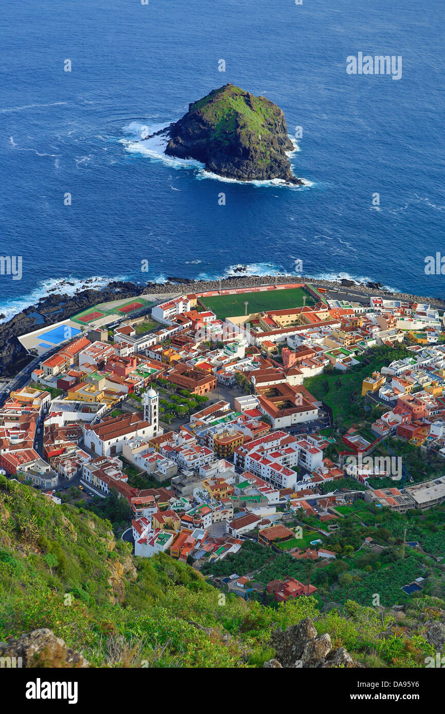 Spain, Europe, Canary Islands, Garachico, Tenerife, Teneriffa, aerial, city, coast, island, rock, roofs, - Stock Image