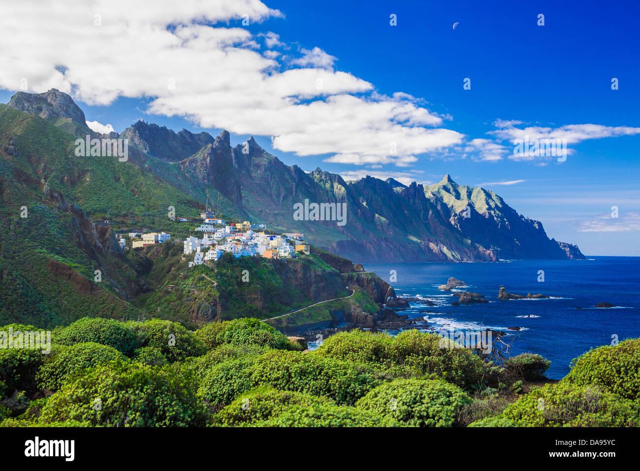 Almaciga, Canary Islands, Canaries, Taganana, Taganana Coast, Tenerife, Teneriffa, blue, cliff, coast, island, mountain, - Stock Image