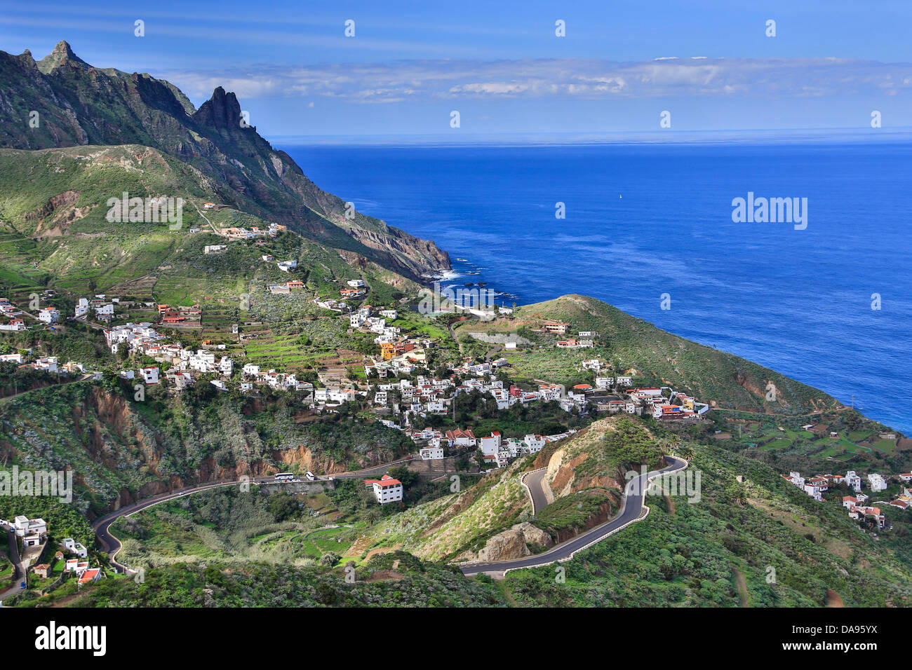 Spain, Europe, Canary Islands, Taganana, Tenerife Island, Tenerife, Teneriffa, blue, cliff, coast, curve, famous, - Stock Image