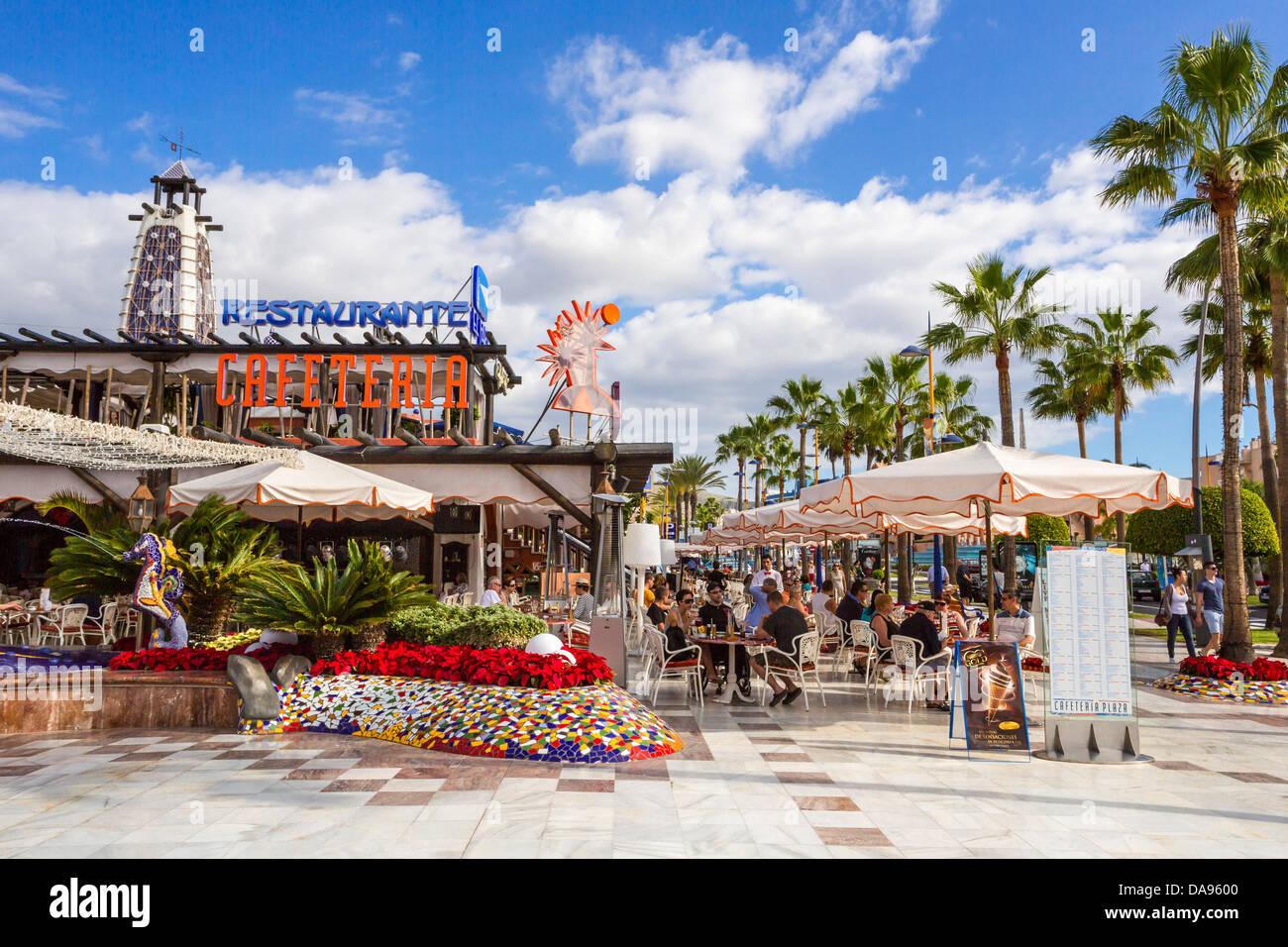 Cafe terrace, Spain, Europe, Canary Islands, Playa las Americas, Tenerife Island, Tenerife, Teneriffa, avenue, clean, - Stock Image