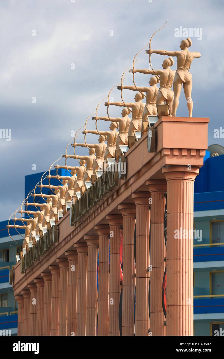 Canary Islands, Canaries, Playa las Americas, Tenerife, Teneriffa, arches, architecture, arch, columns, congress, - Stock Image