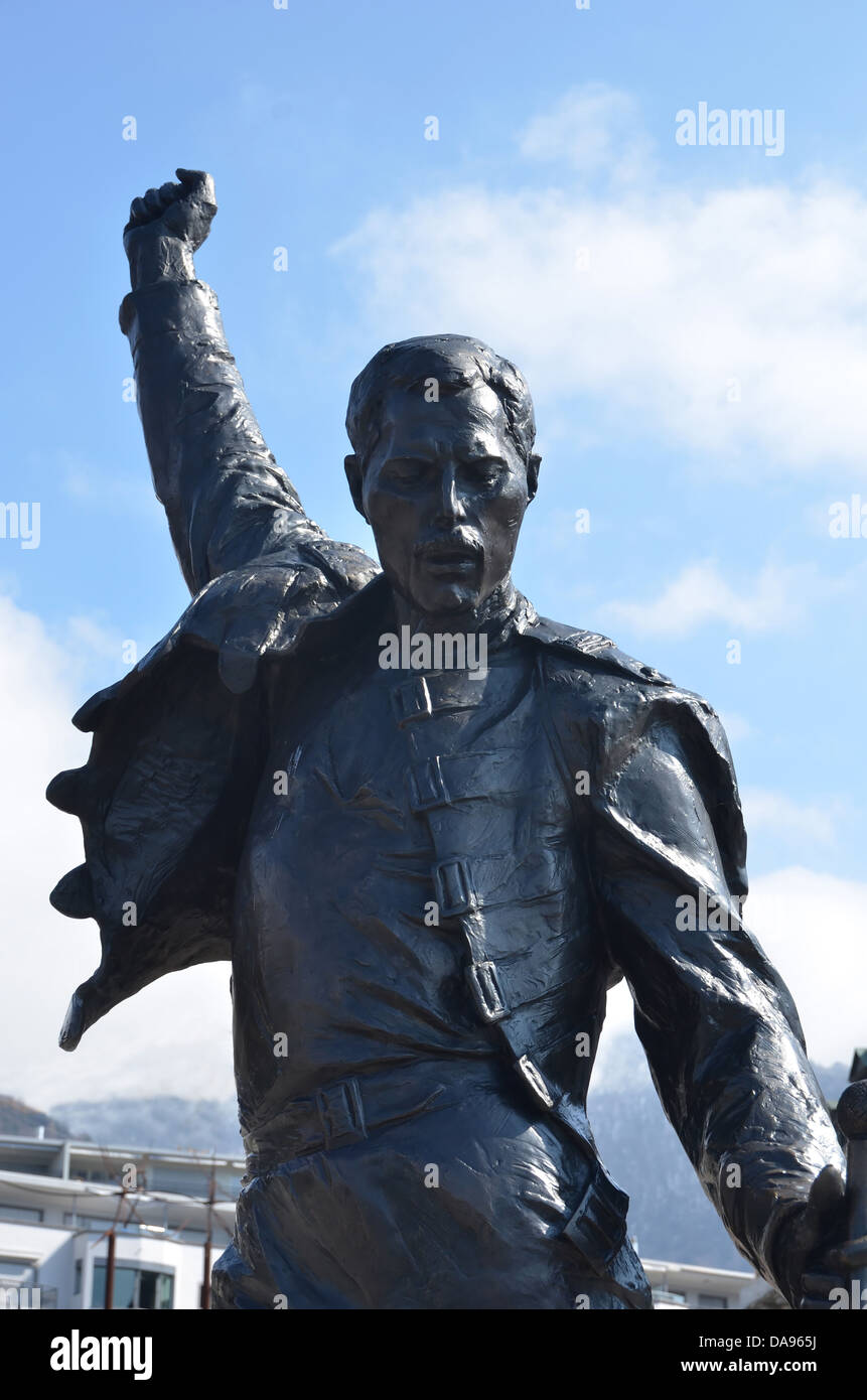 bronze statue erected in the honour of Freddie Mercury the lead singer of Queen, in Montreux, Switzerland where Stock Photo