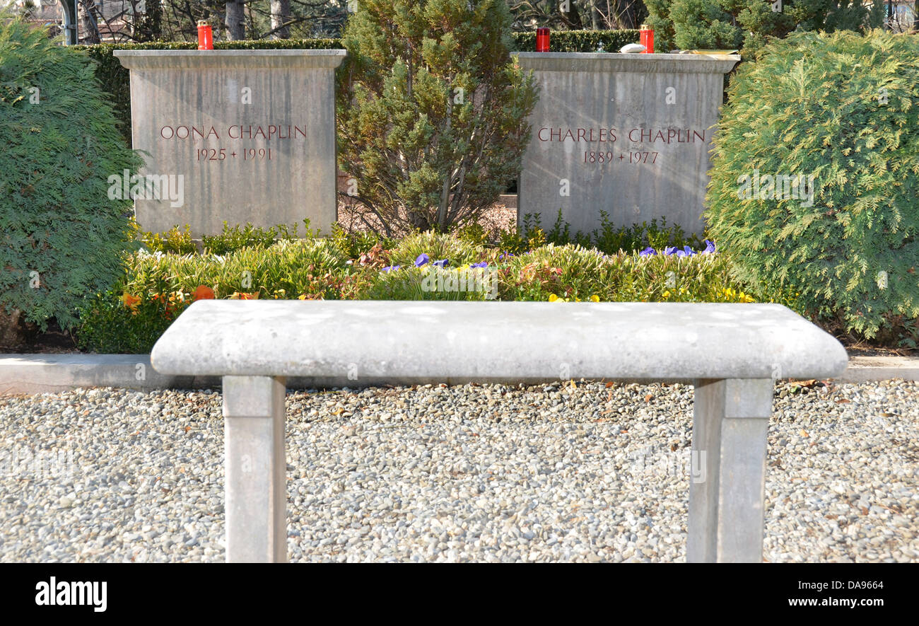 The final resting place of Charlie Chaplin and his wife Oona at a small village cemetry near the town of Vevey, - Stock Image