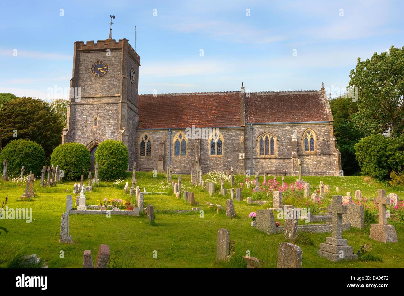 Parish church Holy Trinity, West Lulworth, Dorset, United Kingdom - Stock Image